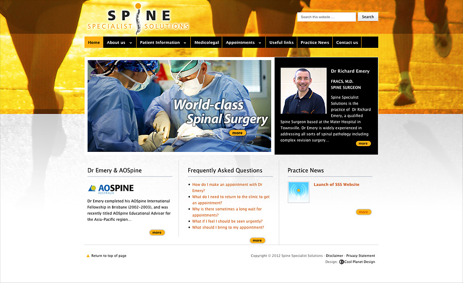 Spine Specialist Solutions website - www.spinespecialistsolutions.com